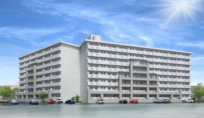 福浜住宅6棟耐震パース 斜め-02のコピー2+